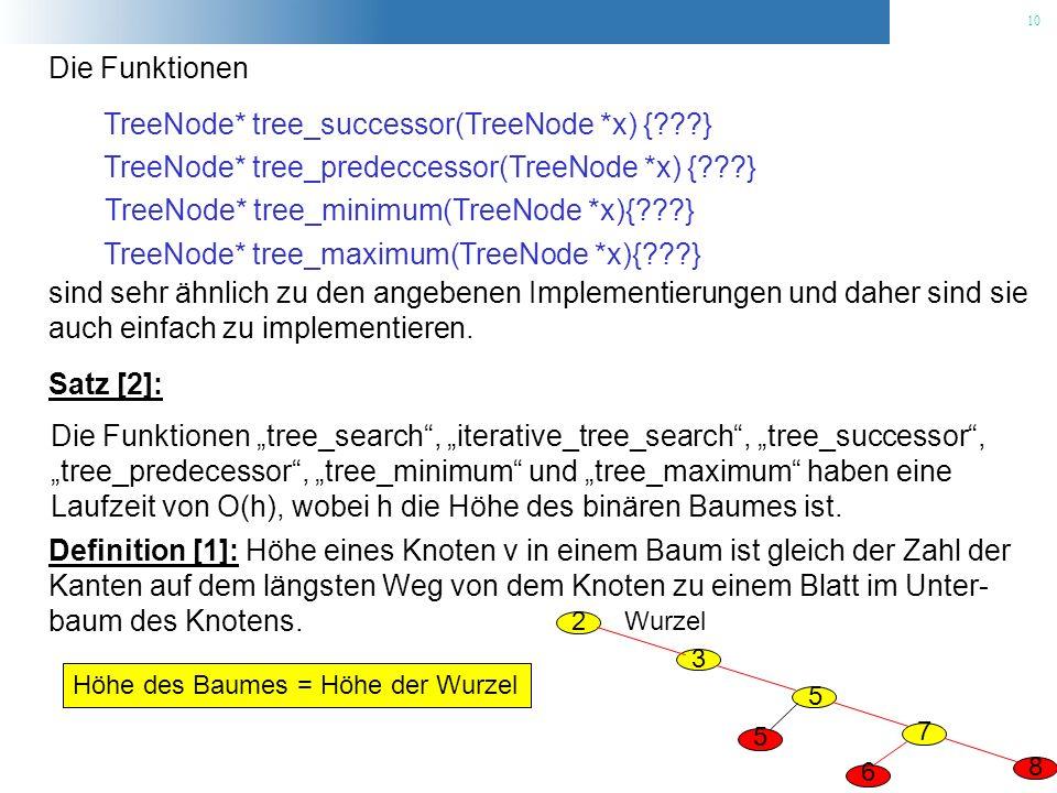 TreeNode* tree_successor(TreeNode *x) { }