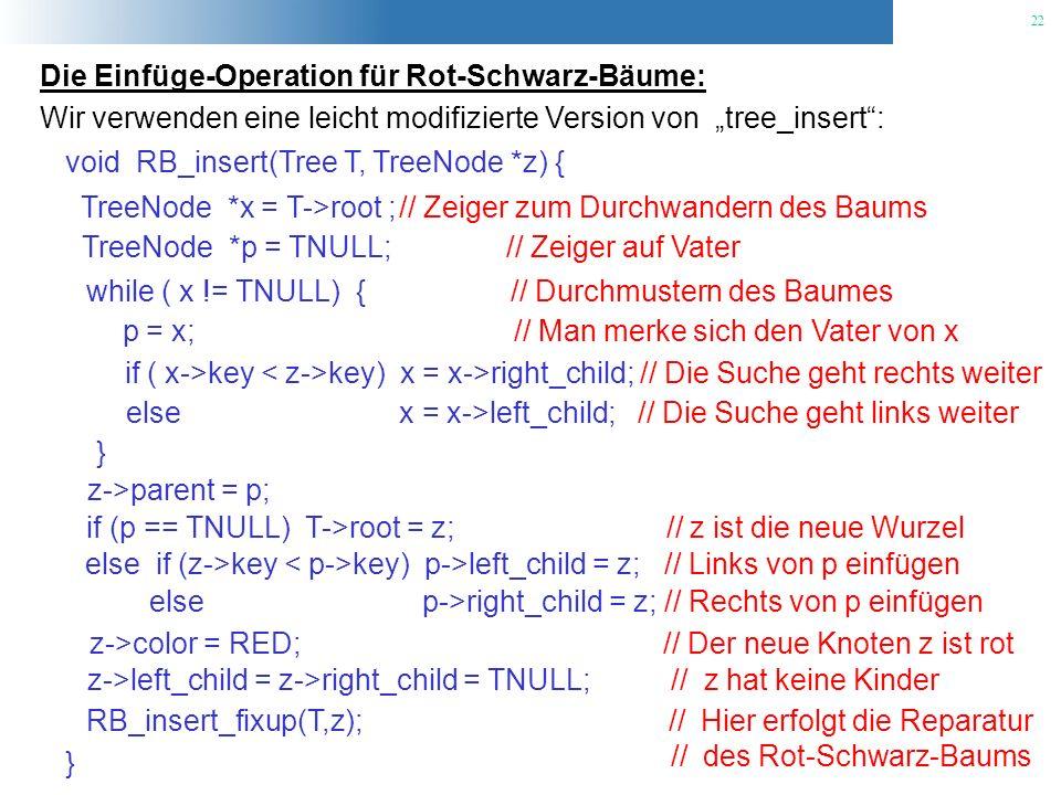 Die Einfüge-Operation für Rot-Schwarz-Bäume: