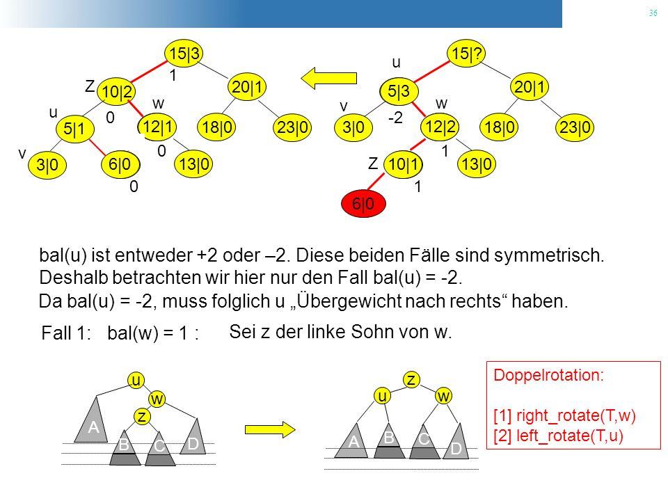 bal(u) ist entweder +2 oder –2. Diese beiden Fälle sind symmetrisch.
