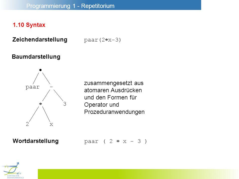 1.10 Syntax Zeichendarstellung paar(2x-3) Baumdarstellung.  zusammengesetzt aus. atomaren Ausdrücken.