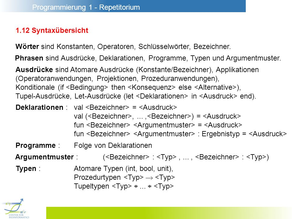 1.12 SyntaxübersichtWörter sind Konstanten, Operatoren, Schlüsselwörter, Bezeichner.