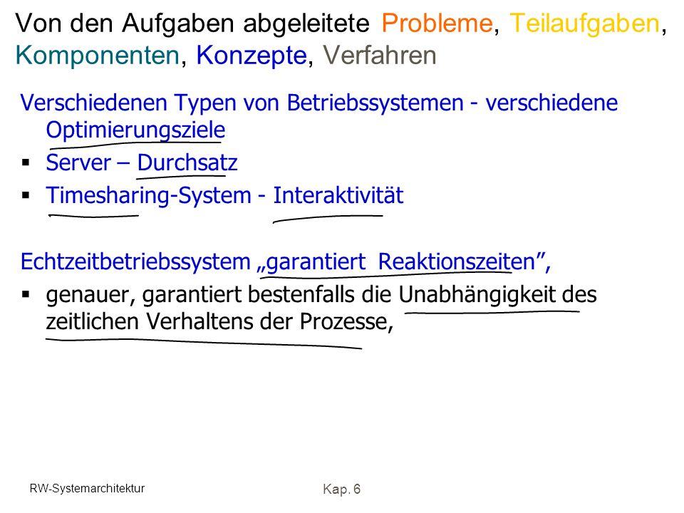 Von den Aufgaben abgeleitete Probleme, Teilaufgaben, Komponenten, Konzepte, Verfahren