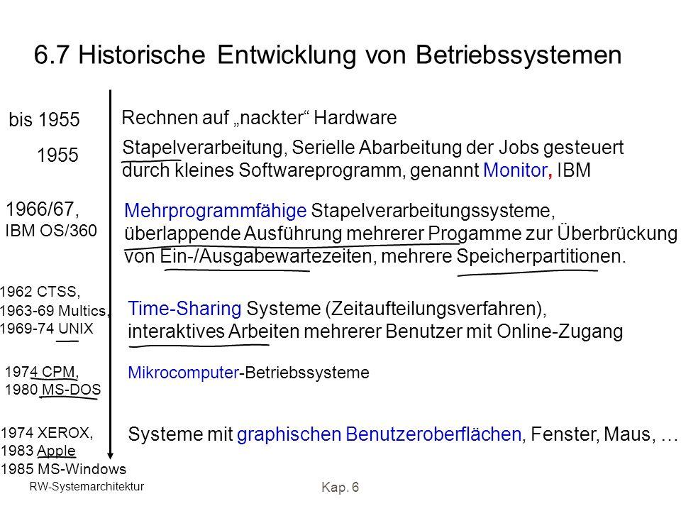 6.7 Historische Entwicklung von Betriebssystemen