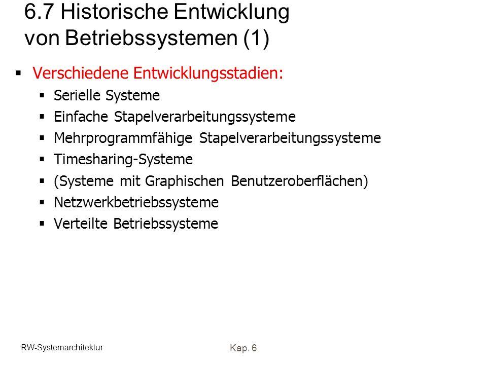 6.7 Historische Entwicklung von Betriebssystemen (1)