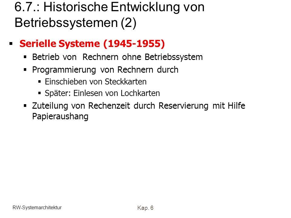 6.7.: Historische Entwicklung von Betriebssystemen (2)