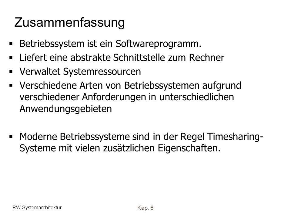 Zusammenfassung Betriebssystem ist ein Softwareprogramm.