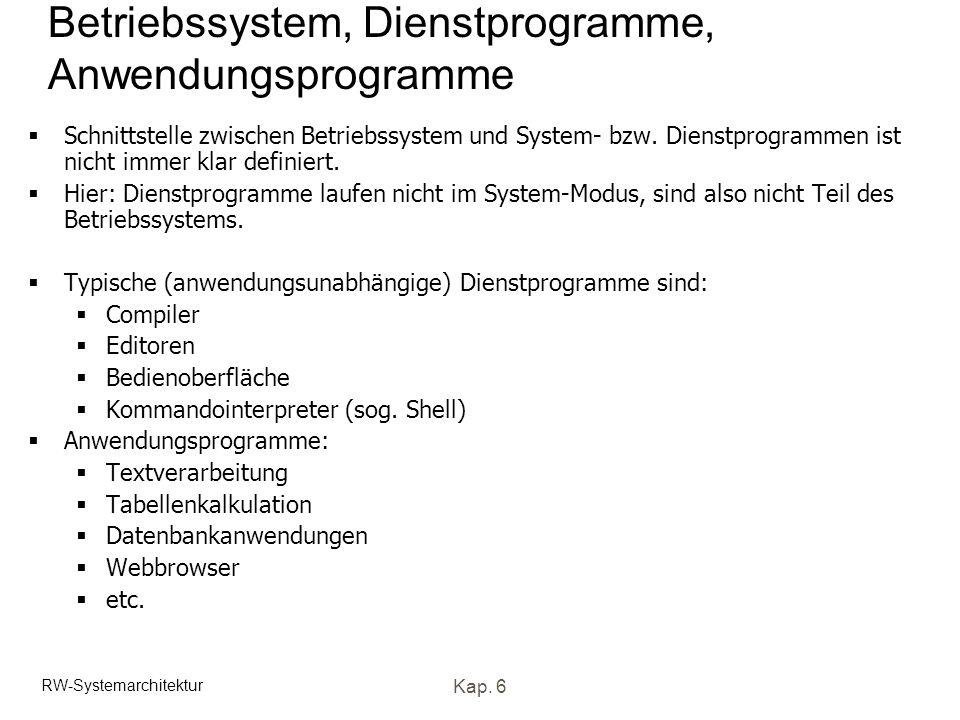 Betriebssystem, Dienstprogramme, Anwendungsprogramme
