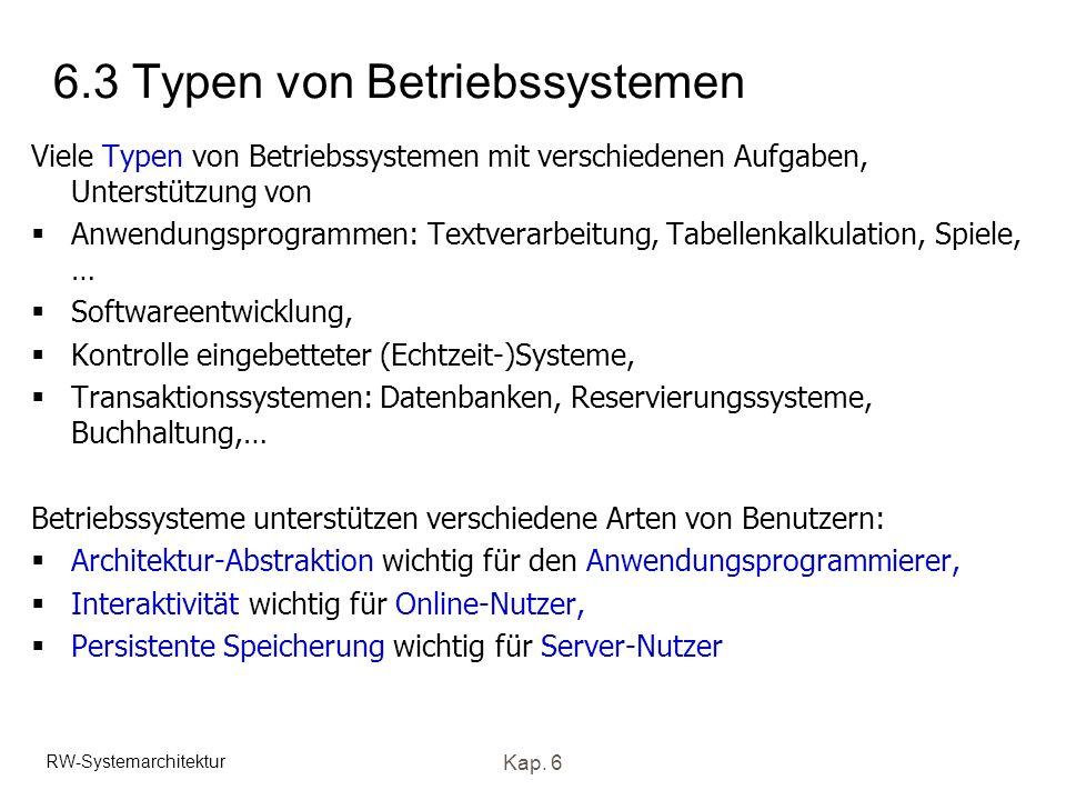 6.3 Typen von Betriebssystemen