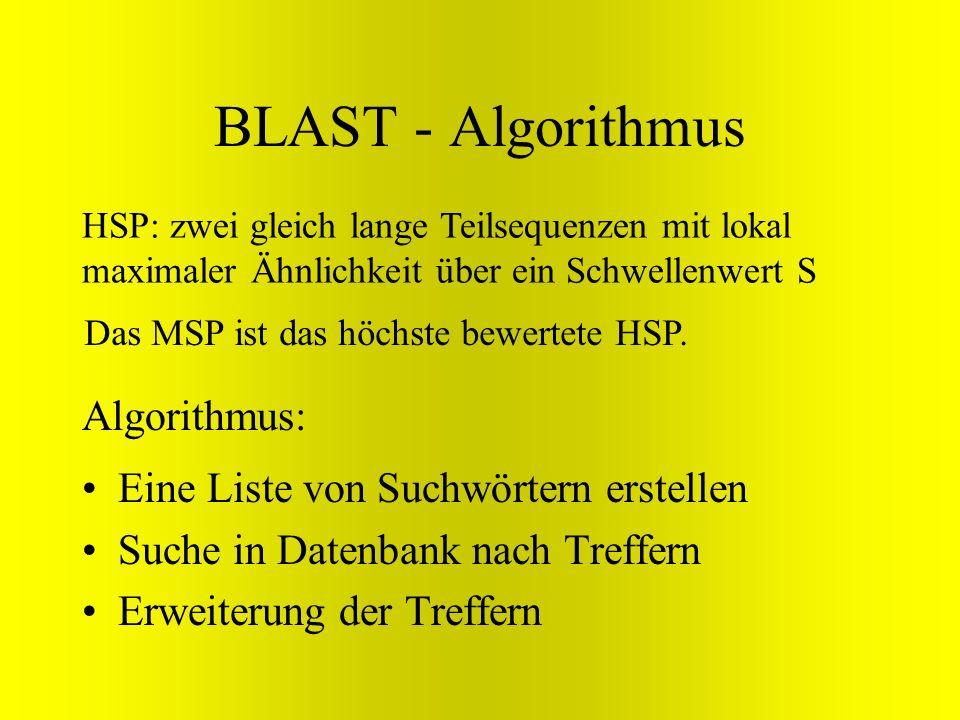 BLAST - Algorithmus Algorithmus: Eine Liste von Suchwörtern erstellen