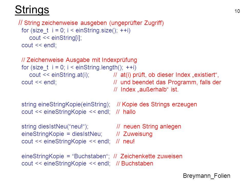 Strings // String zeichenweise ausgeben (ungeprüfter Zugriff)