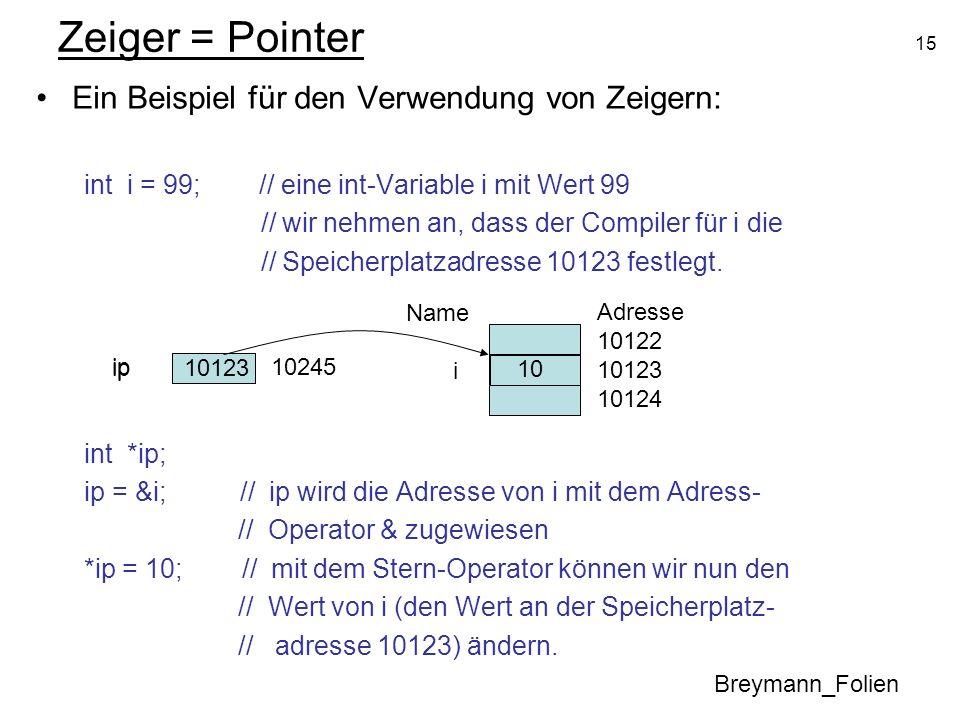 Zeiger = Pointer Ein Beispiel für den Verwendung von Zeigern: