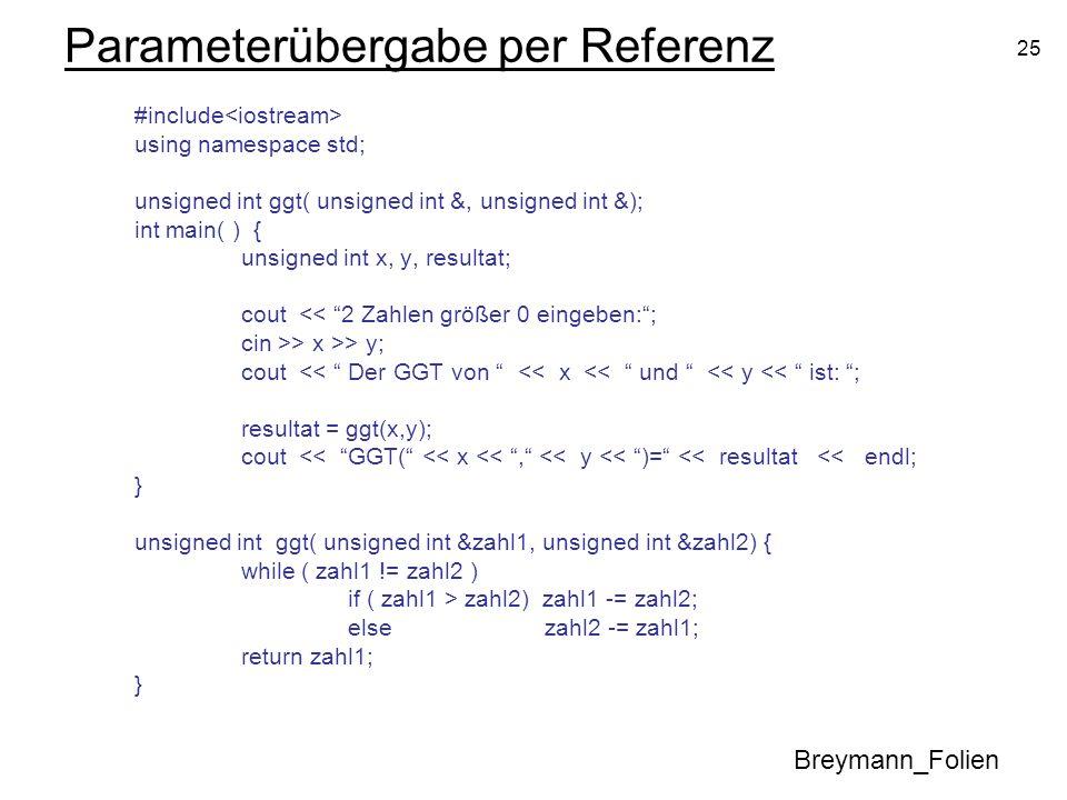 Parameterübergabe per Referenz