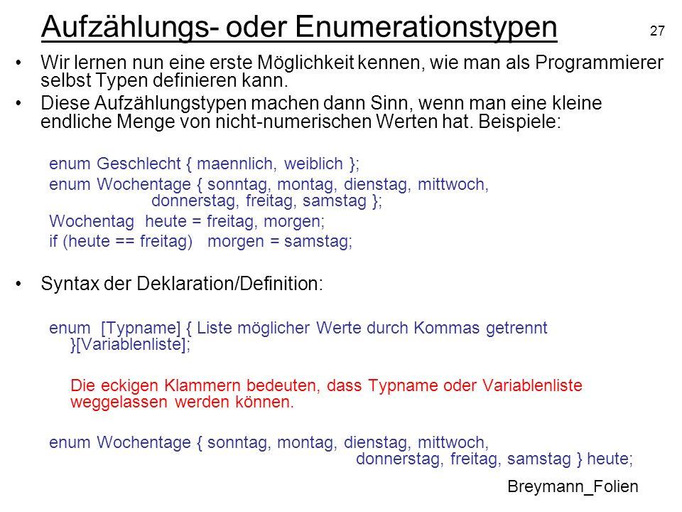 Aufzählungs- oder Enumerationstypen