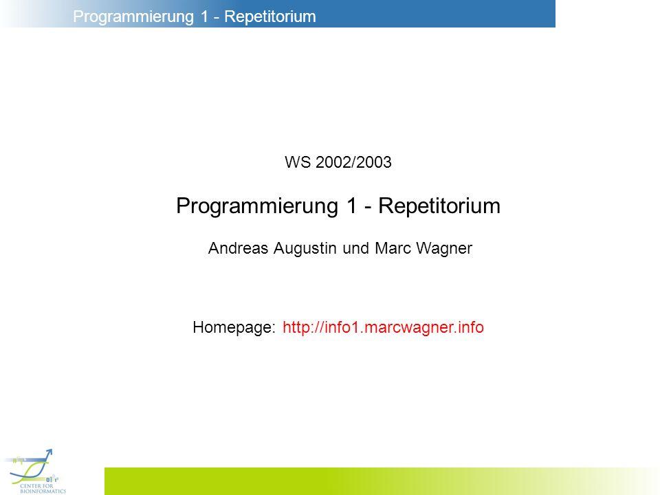Programmierung 1 - Repetitorium
