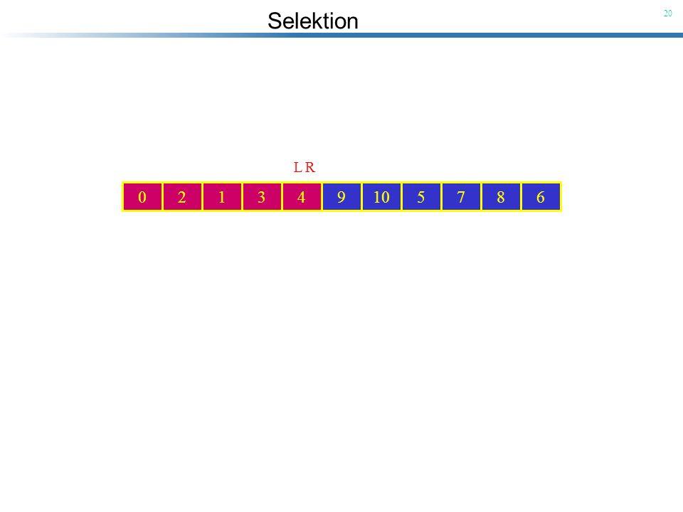6 9. 3. 1. 10. 5. 7. 8. 4. Pivot-Element. R. 2. L. 6. 9. 3. 1. 10. 5. 7. 8. 4. Pivot-Element.