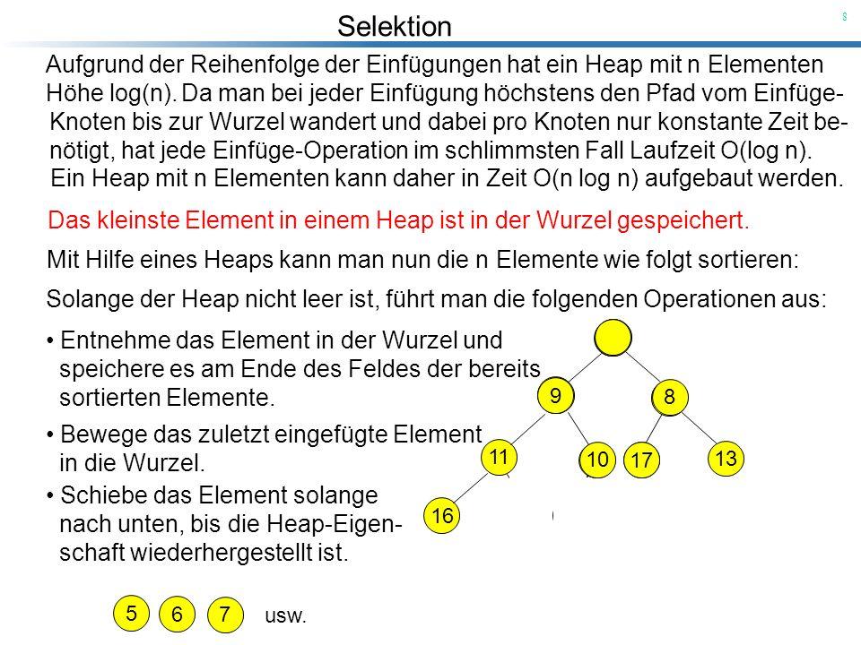 Aufgrund der Reihenfolge der Einfügungen hat ein Heap mit n Elementen