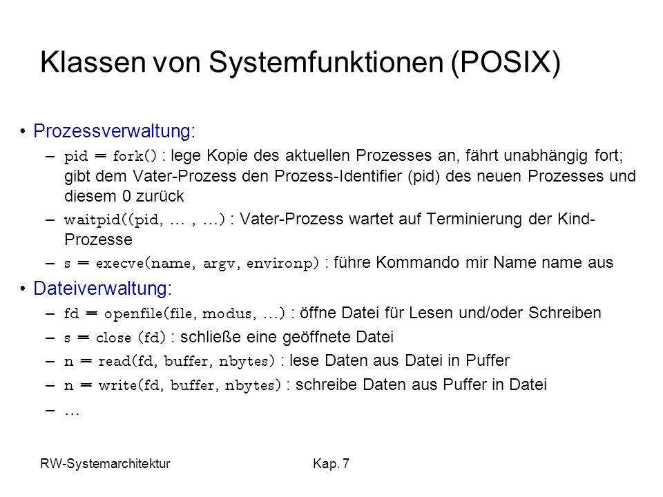 Klassen von Systemfunktionen (POSIX)