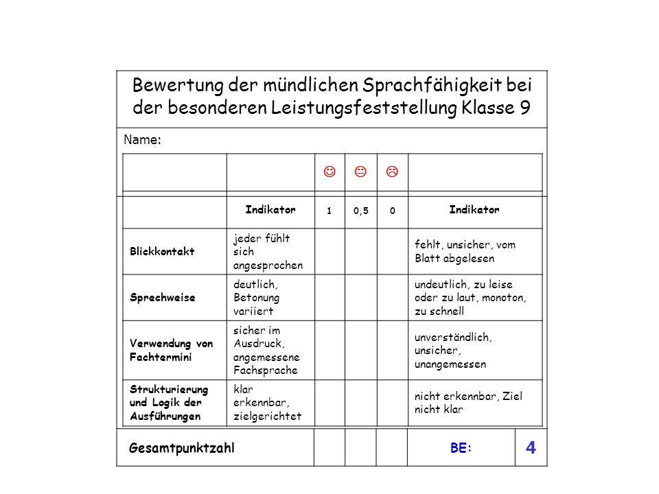 Bewertung der mündlichen Sprachfähigkeit bei der besonderen Leistungsfeststellung Klasse 9