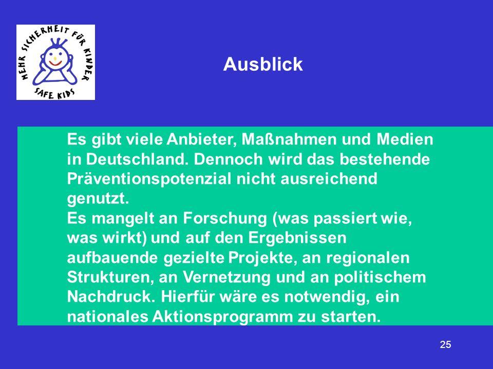 Ausblick Es gibt viele Anbieter, Maßnahmen und Medien in Deutschland. Dennoch wird das bestehende Präventionspotenzial nicht ausreichend genutzt.