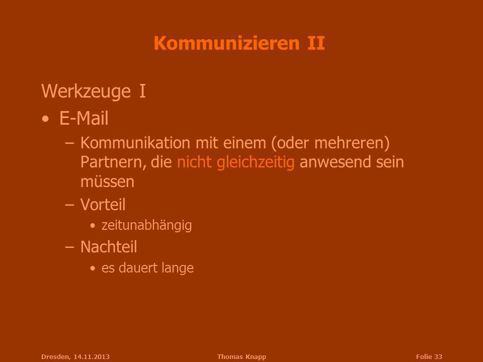 Kommunizieren II Werkzeuge I E-Mail
