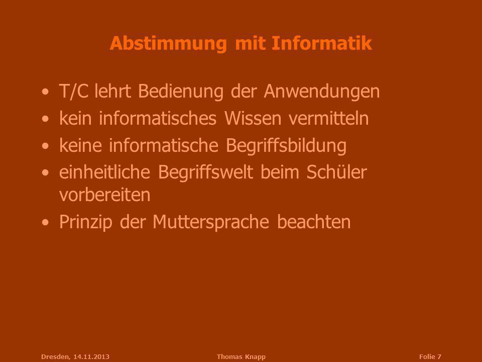 Abstimmung mit Informatik