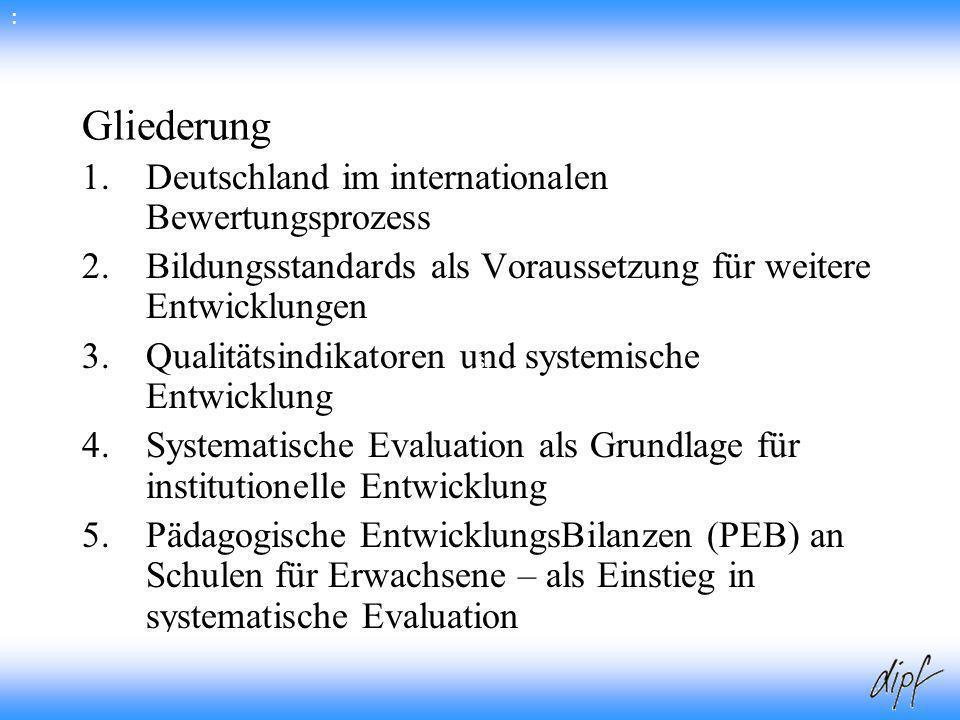 Gliederung Deutschland im internationalen Bewertungsprozess