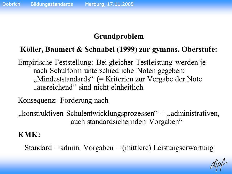 Köller, Baumert & Schnabel (1999) zur gymnas. Oberstufe:
