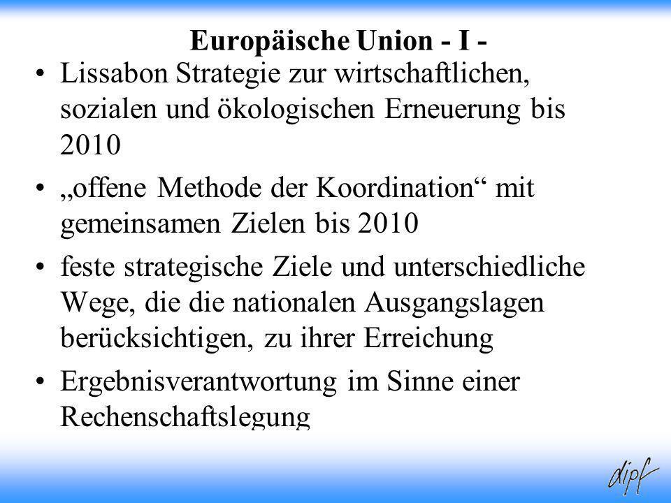 """""""offene Methode der Koordination mit gemeinsamen Zielen bis 2010"""