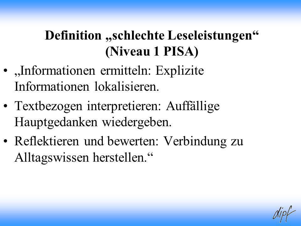 """Definition """"schlechte Leseleistungen (Niveau 1 PISA)"""