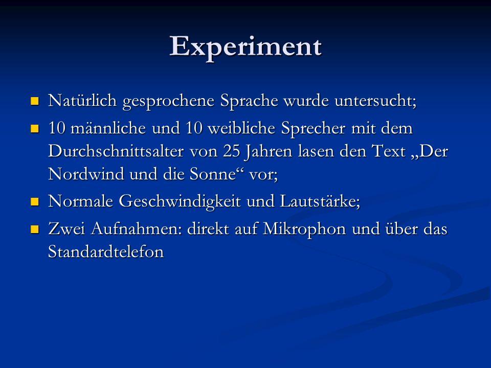 Experiment Natürlich gesprochene Sprache wurde untersucht;