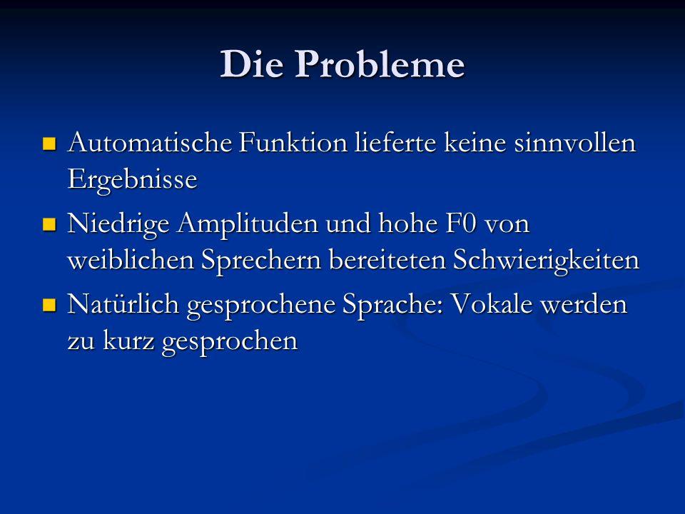 Die Probleme Automatische Funktion lieferte keine sinnvollen Ergebnisse.