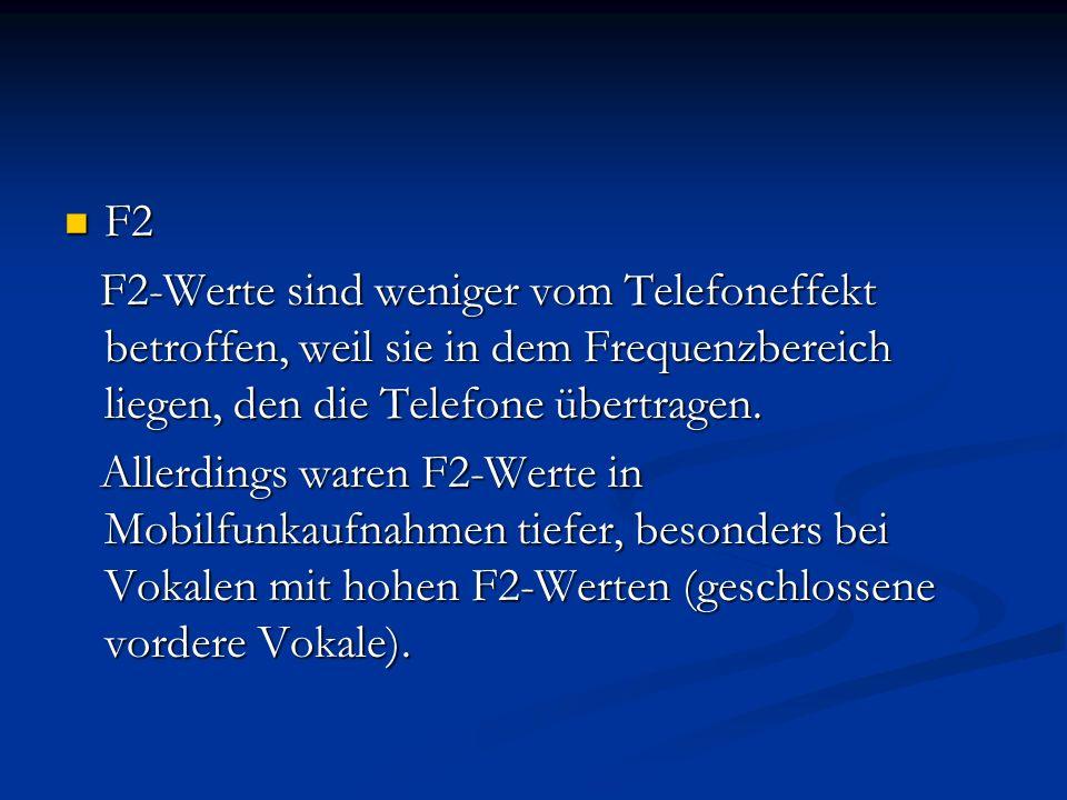 F2 F2-Werte sind weniger vom Telefoneffekt betroffen, weil sie in dem Frequenzbereich liegen, den die Telefone übertragen.