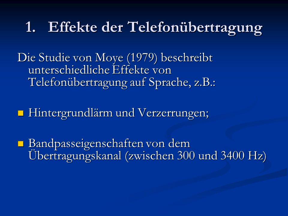 1. Effekte der Telefonübertragung