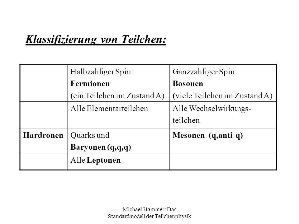 Klassifizierung von Teilchen:
