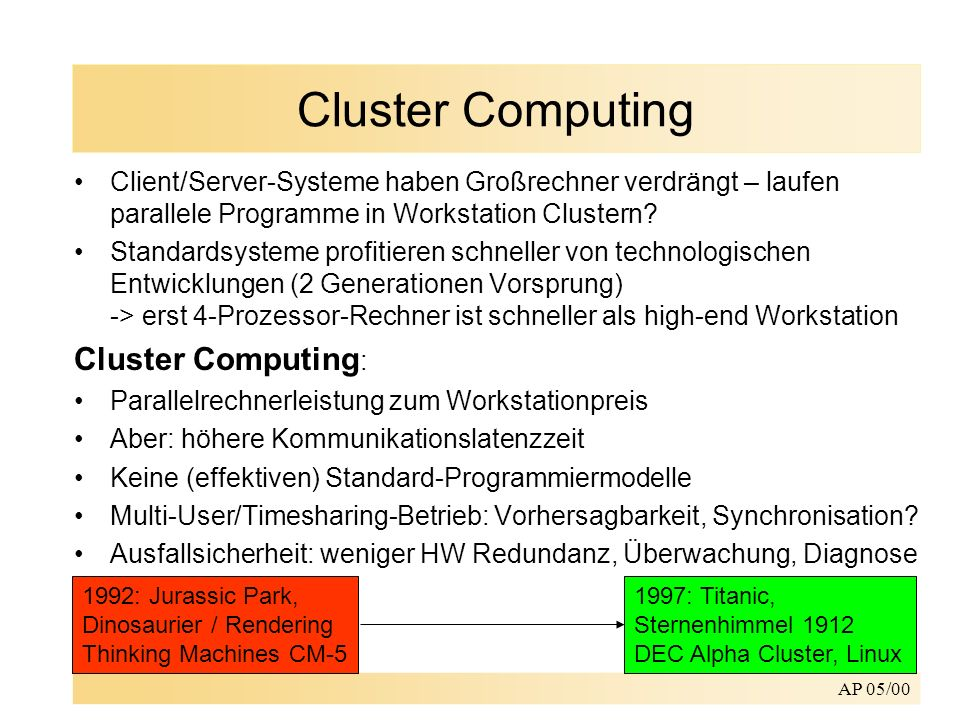 Cluster Computing Cluster Computing: