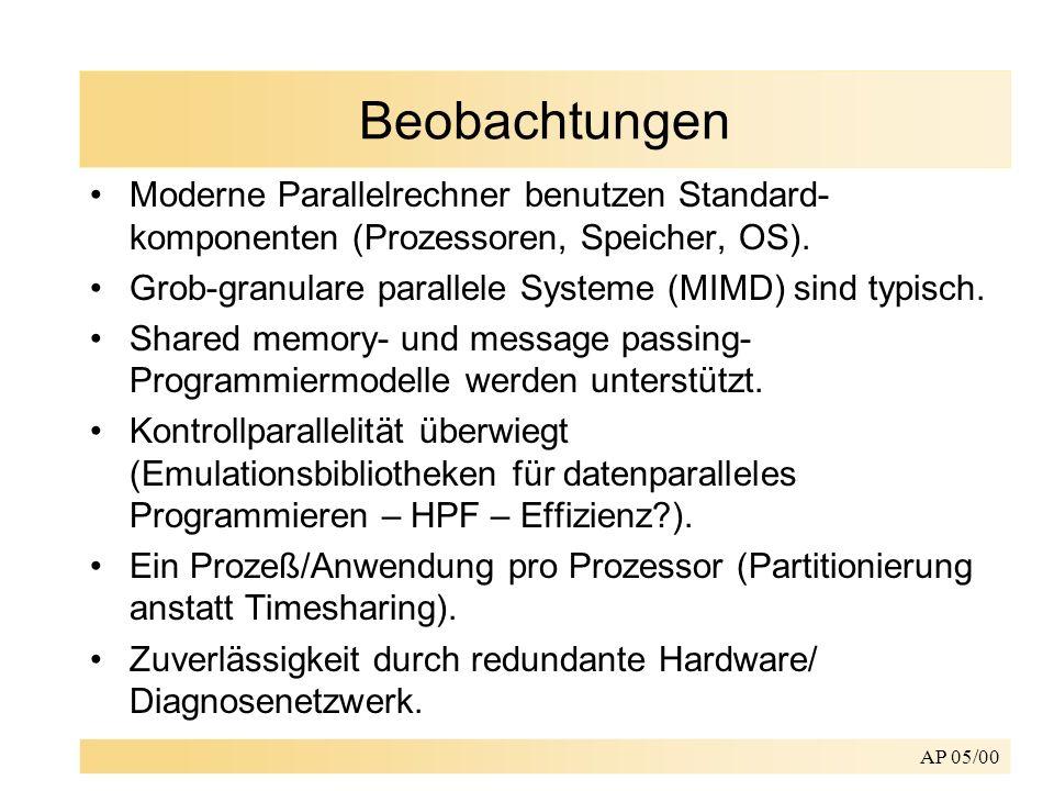 Beobachtungen Moderne Parallelrechner benutzen Standard-komponenten (Prozessoren, Speicher, OS).