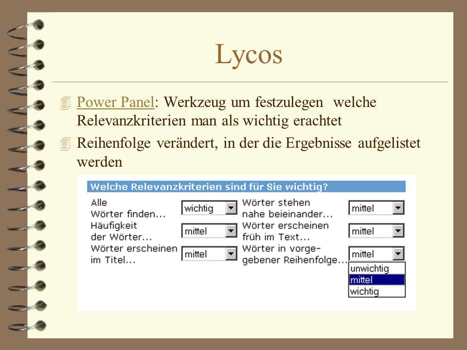 Lycos Power Panel: Werkzeug um festzulegen welche Relevanzkriterien man als wichtig erachtet.