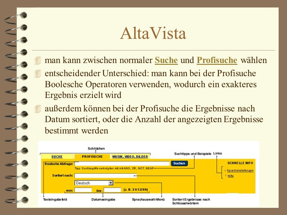 AltaVista man kann zwischen normaler Suche und Profisuche wählen