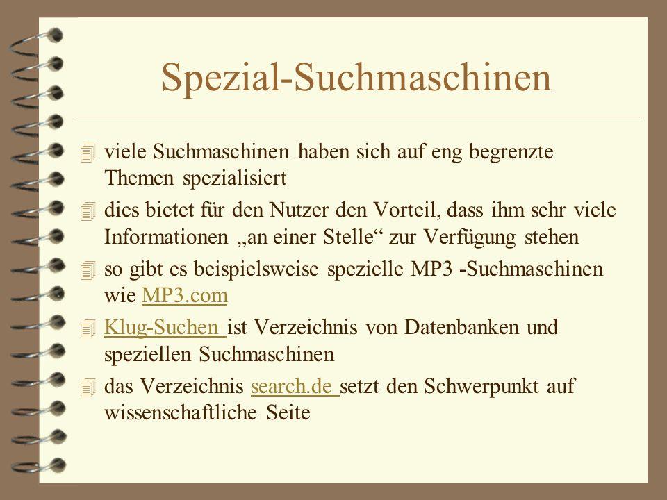 Spezial-Suchmaschinen