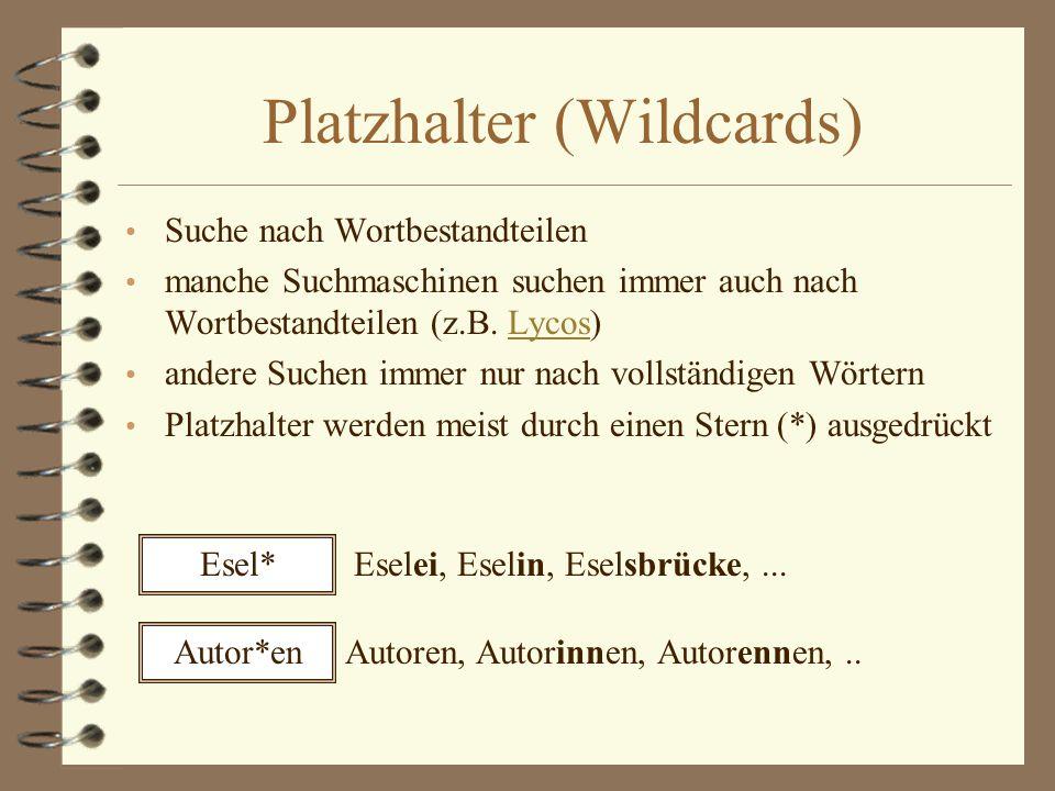 Platzhalter (Wildcards)