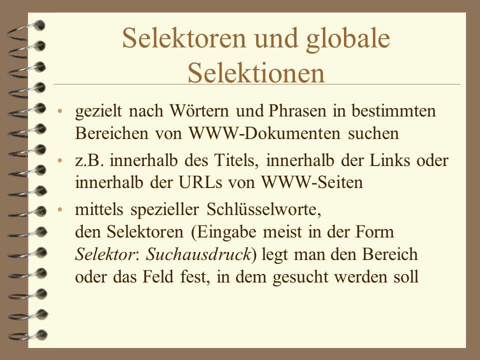 Selektoren und globale Selektionen