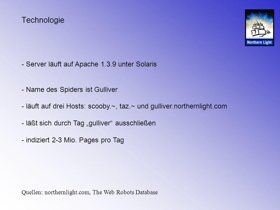 Technologie - Server läuft auf Apache 1.3.9 unter Solaris