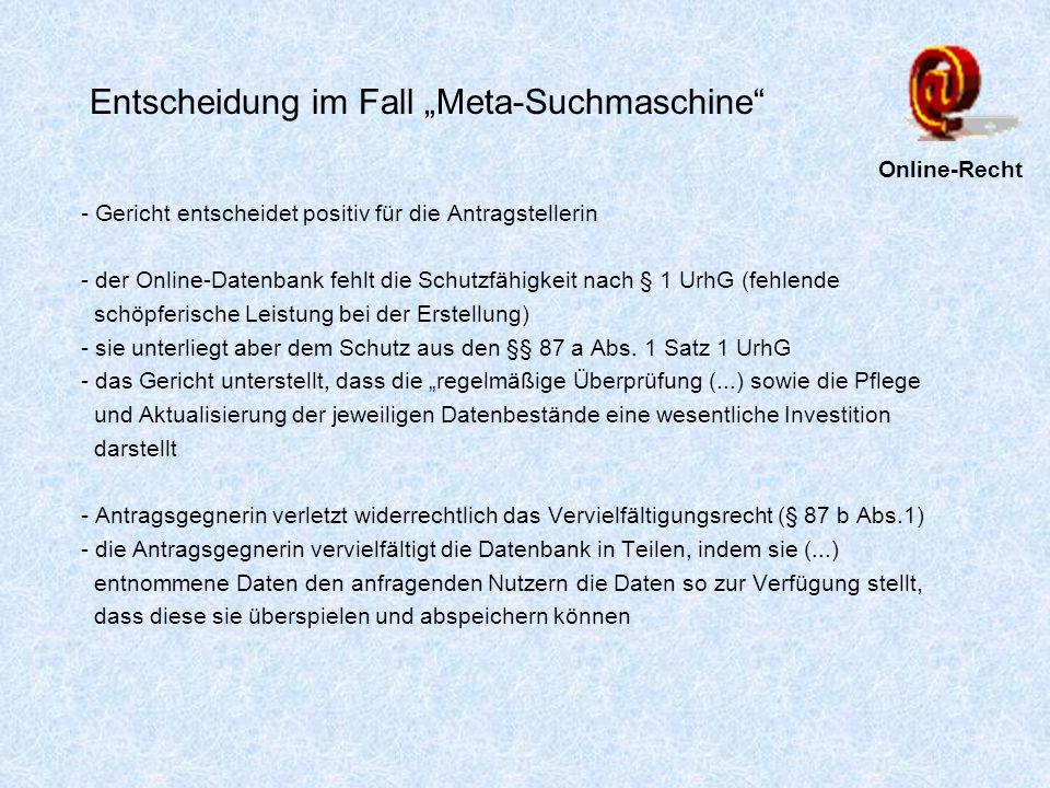 """Entscheidung im Fall """"Meta-Suchmaschine"""