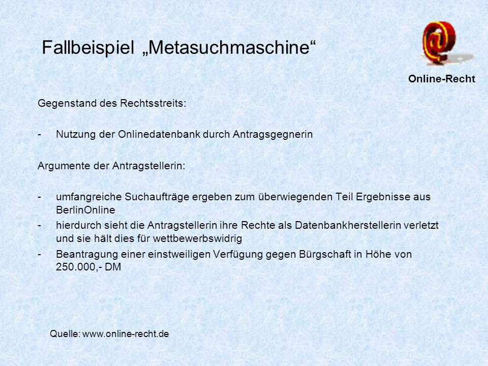 """Fallbeispiel """"Metasuchmaschine"""