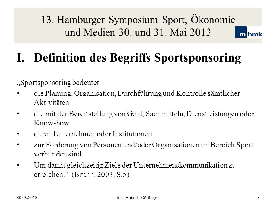 Definition des Begriffs Sportsponsoring