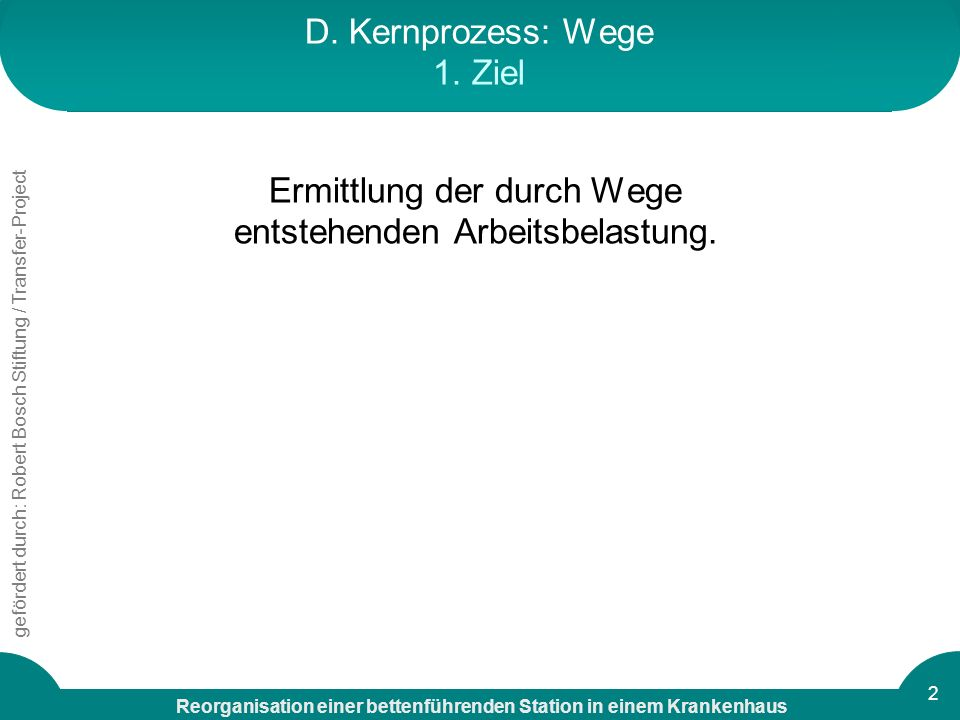 D. Kernprozess: Wege 1. Ziel