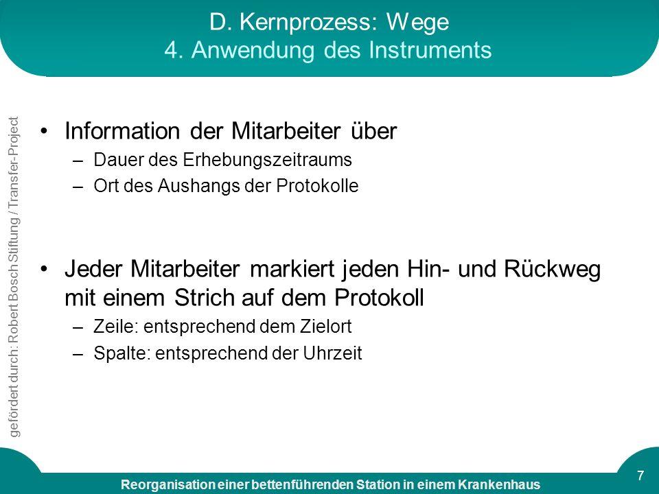 D. Kernprozess: Wege 4. Anwendung des Instruments