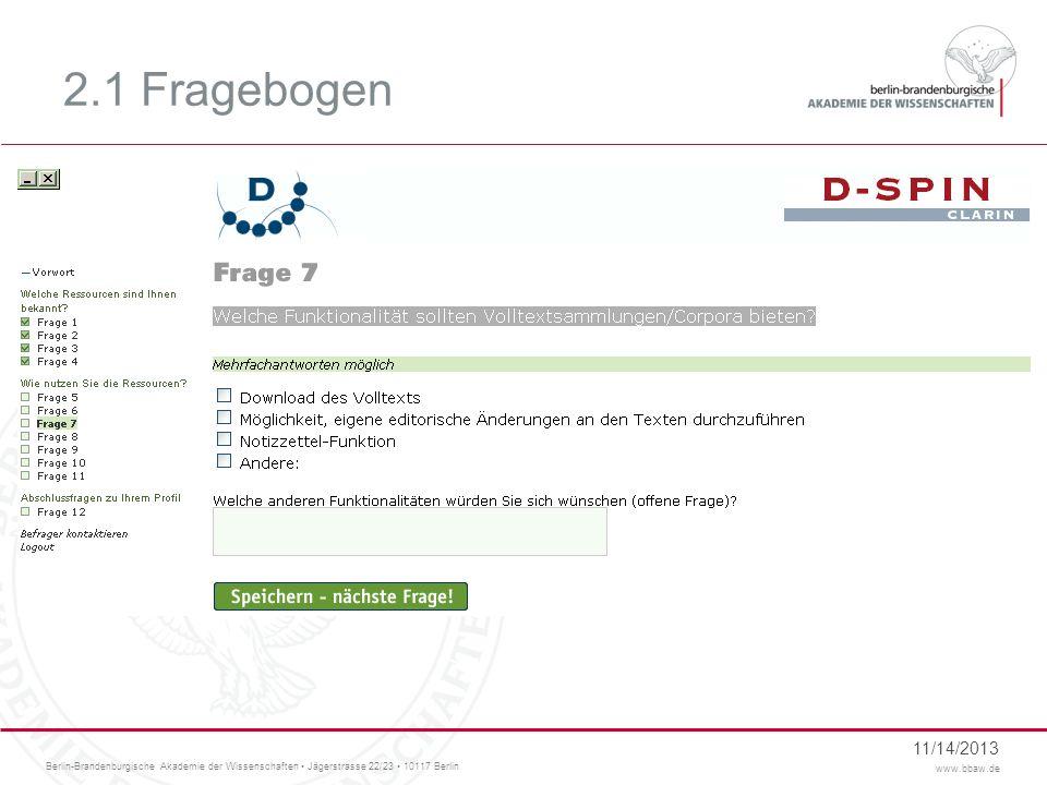 2.1 Fragebogen Funktionalitäten, Ausgabeformate, Annotationen