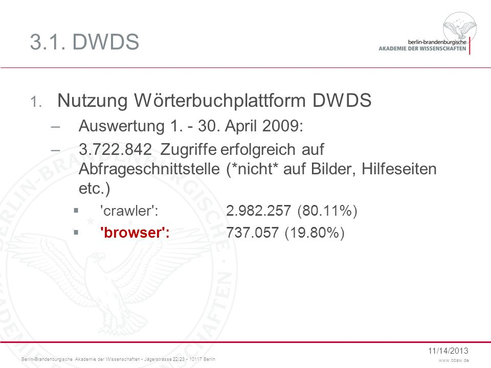 3.1. DWDS Nutzung Wörterbuchplattform DWDS