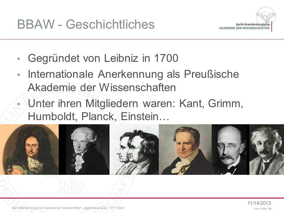 BBAW - Geschichtliches